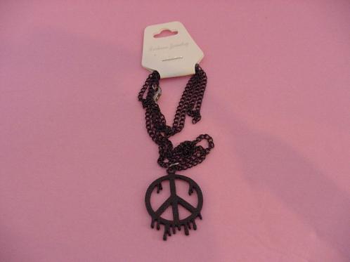 Drippy Paint Peace Black Necklace