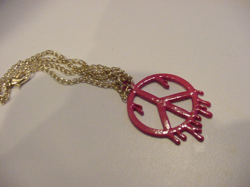 Drippy Paint Peace Pink Necklace