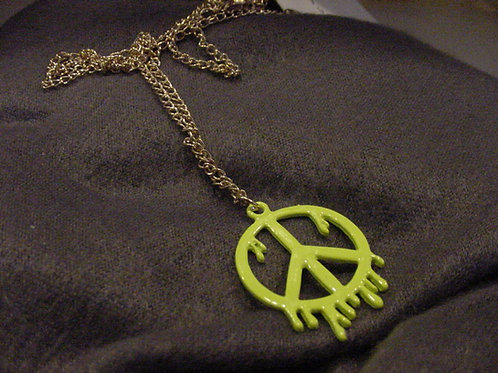 Drippy Paint Peace Green Necklace
