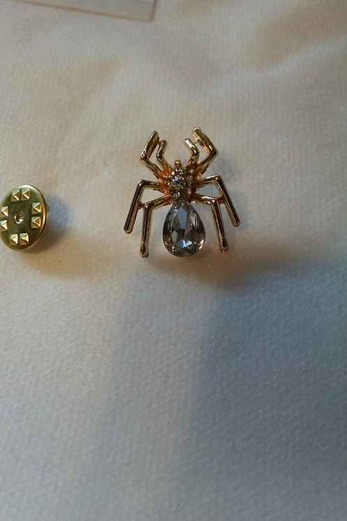 Spider hat pin, clear jewel