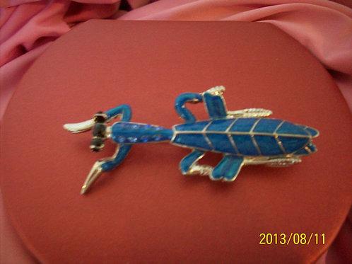 Praying mantis Blue pin