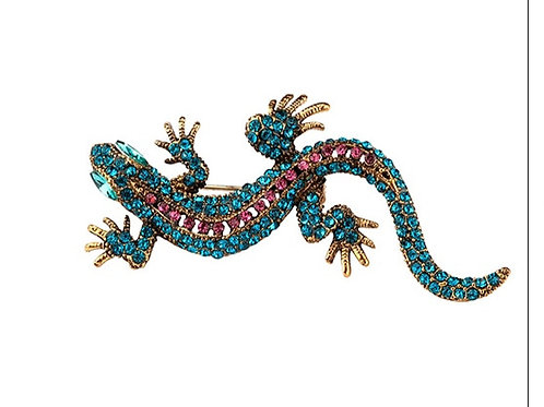 Lizard pin or broach blue stones
