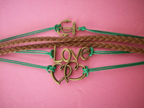 Love, heart, anchor bracelet