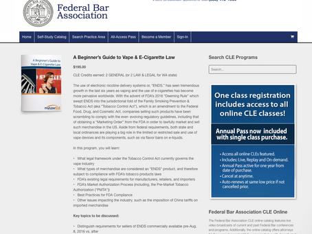 Webinar Jan. 25th: Beginner's Guide to Vape & E-Cigarette Law