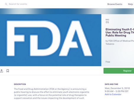 FDA Hosting Dec. 5th Meeting on Youth Prevention and E-Cigs