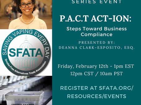 Join Deanna on 2/12/21 for a PACT Act Webinar on Shipping Vapor and Cannabis Products Via USPS