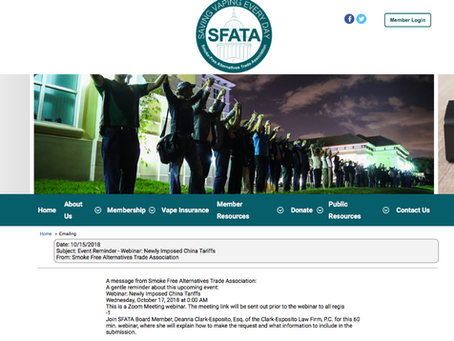 Join Me & SFATA on Wed. 2 pm EST  Webinar: How to Request an Exclusion from China Tariffs (Sec. 301)