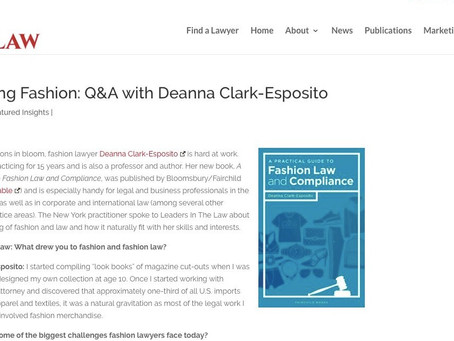 """""""Leader's in Law"""" Recognizes Deanna's New Fashion Law Book"""