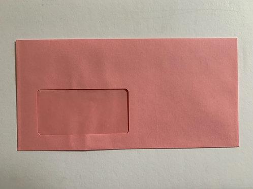 250 Briefumschläge mit Fenster Haftklebung DIN Lang [Rosa]