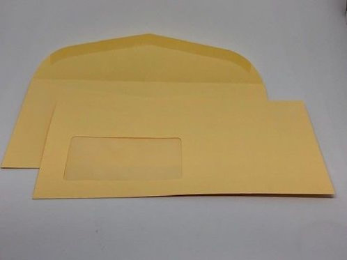 250 Briefumschläge creme nassklebend DIN Lang 90 gr. mit Fenster