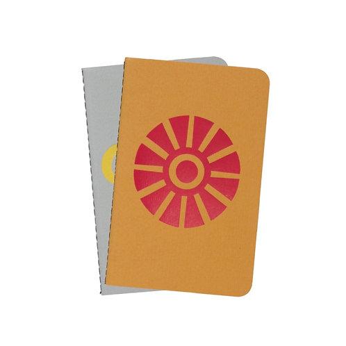 Dingbats A6 Personal Pocket Notizbuch - 2er Set [Hellgrau/Gelb]