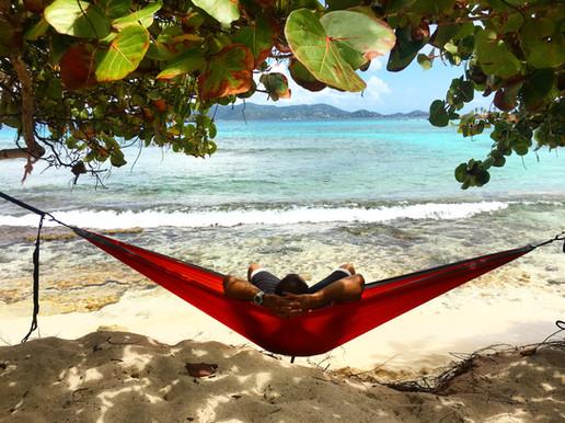 Relaxing in a hammock at Sapphire Beach St. Thomas US Virgin Islands (USVI)