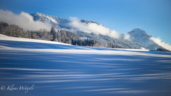 Snow, shadow, mountain range (Bavaria, Germany)