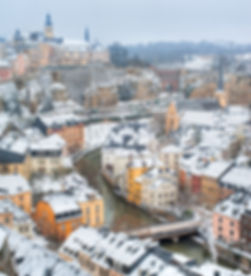 Luxembourg old town panorama on a white