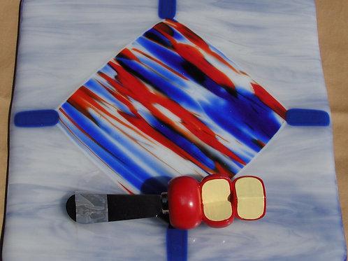 Cheeseboard--Red, White, Blue Spirit glass (Knife Optional)