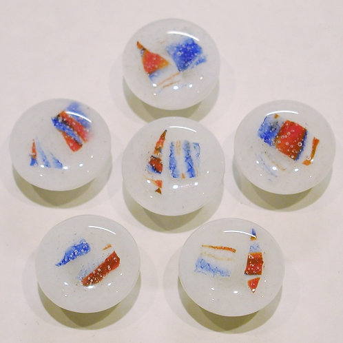 Cabinet-Drawer Pulls, Red, White, Blue, Set of 6