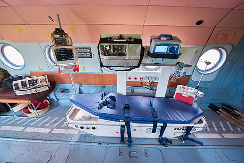 Inside of medical helicopter with emerge