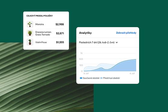 Zobrazení analytické zprávy v aplikaci Wix Owner.