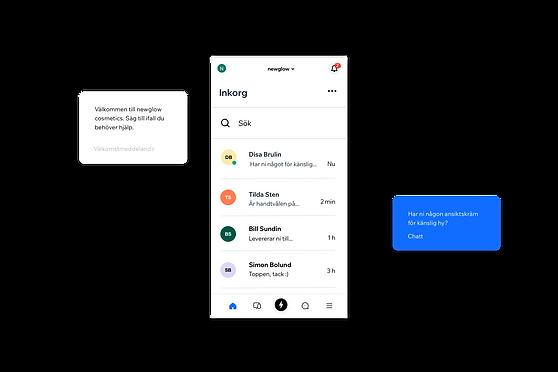 Bilder som visar live-chatt via Wix Owner App.