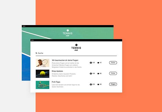 Zeigt eine online Tennis-Community auf dem Desktop und in der Wix Owner App.