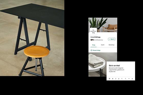 Bilder som visar hur en blogg ser ut i Wix Owner App.