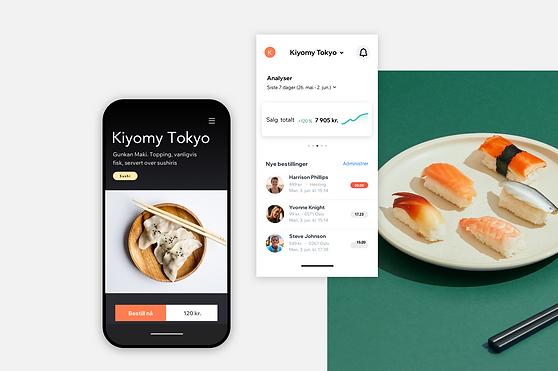 Visning av en nettside for en restaurant og et dashbord med bestillingsstatus på Wix Owner App.