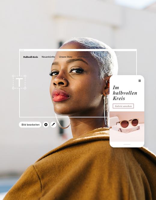 Bild einer Modeblog-Website namens Half Full Circle auf Desktop und Handy.
