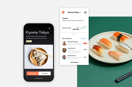 Visualização do site de um restaurante e um painel com o status dos pedidos no App Proprietário Wix