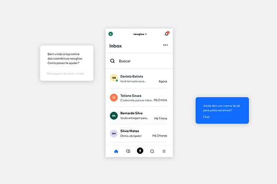 Imagens mostrando o chat ao vivo através do App Wix Owner