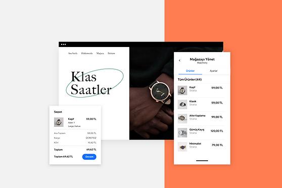 Wix Owner uygulamasıyla online mağaza yönetimini gösteren görüntüler
