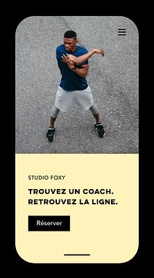 Site mobile de réservation de cours de fitness créé avec Wix.