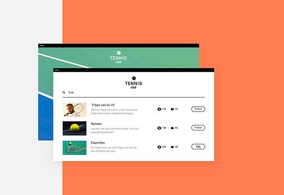 Översikt av ett tenniscommunity online på både dator och Wix Owner App.