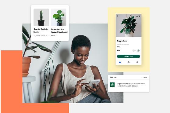 Üyelerin bir işletmeyle bağlantı kurmak için Spaces by Wix uygulamasını nasıl kullanabileceklerini gösteren resimler.