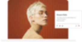 Wix blog avec le portrait d'une femme blonde à lunettes.