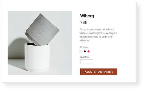 Boutique en ligne Wix pour un magasin de céramique affichant une pile de petites tasses.