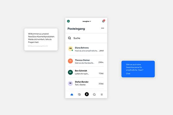 Bilder zeigen Live-Chat über die Wix Owner App.