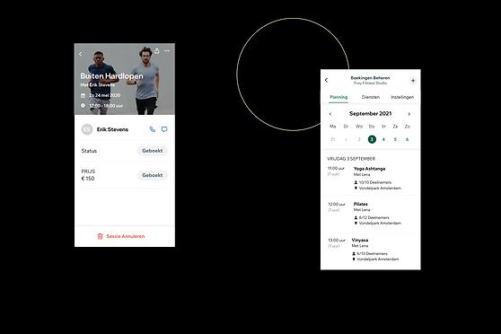 Weergave van een fitnessbedrijf en hoe het eruit ziet in de Wix Owner app