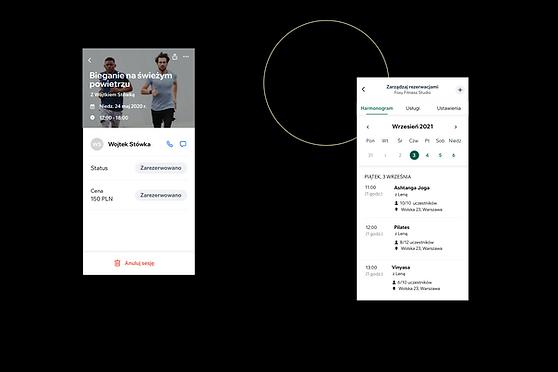 Widok firmy fitness i jej wyglądu w aplikacji Wix Owner.