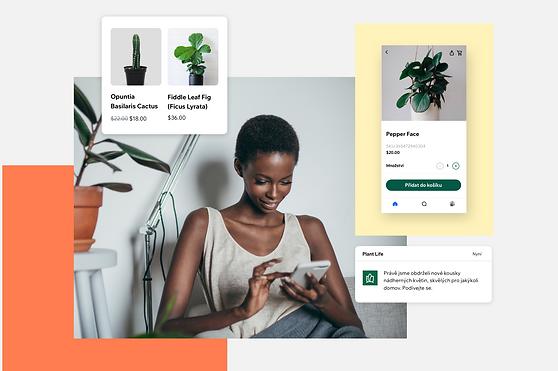 Obrázky zobrazující členy a způsoby použití aplikace Spaces by Wix pro kontakt s firmou.