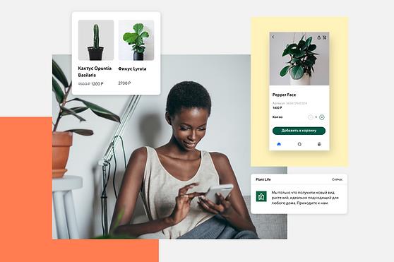 Изображения, показывающие, как участники могут использовать приложение Spaces by Wix для связи с бизнесом.