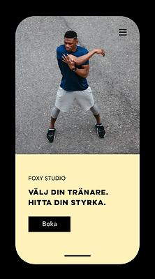 Mobil sida för träningsbokning skapad med Wix