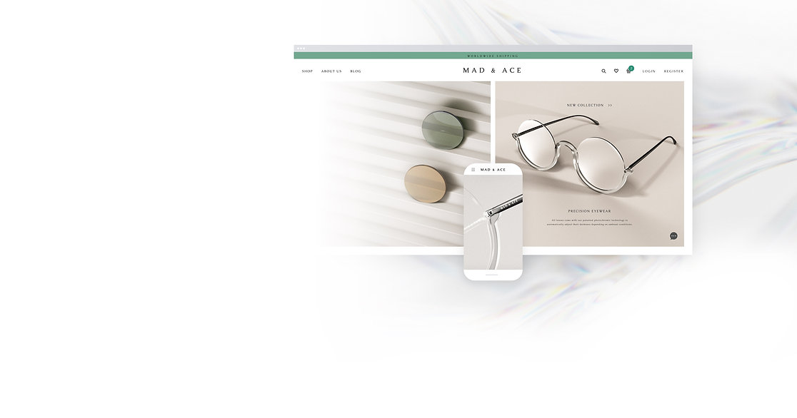 A website of a luxury glasses brand show