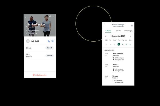 Översikt av en träningsverksamhet och hur den ser ut i Wix Owner App.