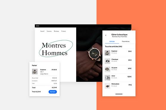 Images de gestion de boutique en ligne via l'appli Wix Owner.