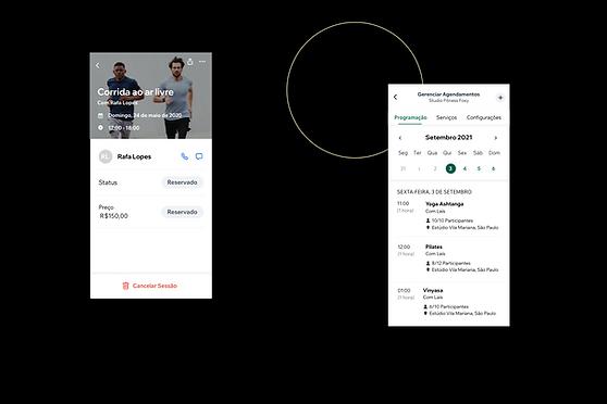Visualização de uma empresa de fitness e sua aparência no App Wix Owner