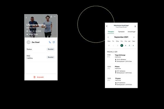 Visning av en fitnessbedrift og hvordan den ser ut på Wix Owner App.