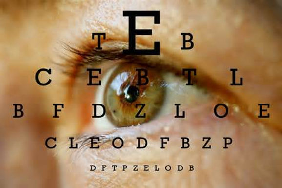 A human eye with an eye exam chart superimposed on it.
