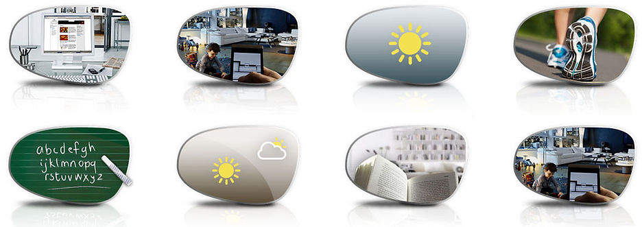 Eyeglass lenses reflecting occupational lens options