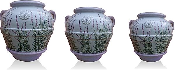 orcio in terracotta e ceramica lavanda