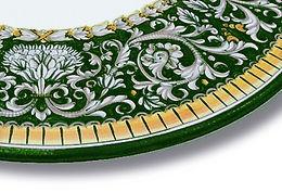 piano tavolo tondo di ceramica deruta
